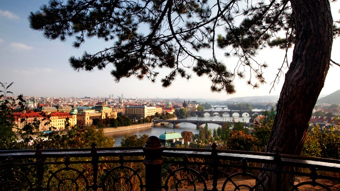 the city of Prague and the Vltava are seen from Letna Park in the Czech Republic